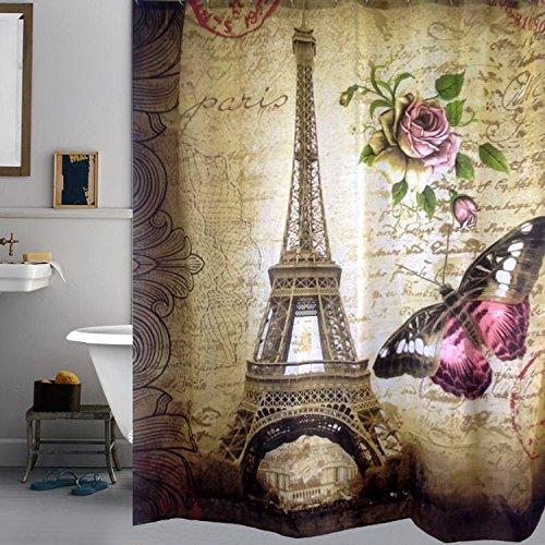 Uphome vintage paris eiffel tower bathroom shower curtain - Anna s linens bathroom accessories ...