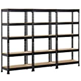 Topeakmart 3 pack Heavy Duty 5 Tier Commercial Industrial Racking Garage Shelving Unit Adjustable Display Stand,59.1