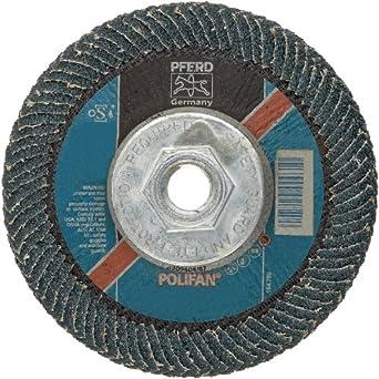 "PFERD Polifan PSF Abrasive Flap Disc, Large Radius, Radial Shape, Threaded Hole, Phenolic Resin Backing, Zirconia Alumina, 5"" Dia., 40 Grit (Pack of 1)"