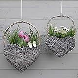 2er Set Herz Blumentopf - Grau oder Weiß - Hängetopf