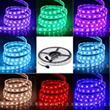 NEWSTYLE IP68 Fully Submersible Waterproof LED Flexible Strip - 16.4 Feet 5M 12 Volt Flexible LED Strip Light - SMD5050 RGB 300LEDs