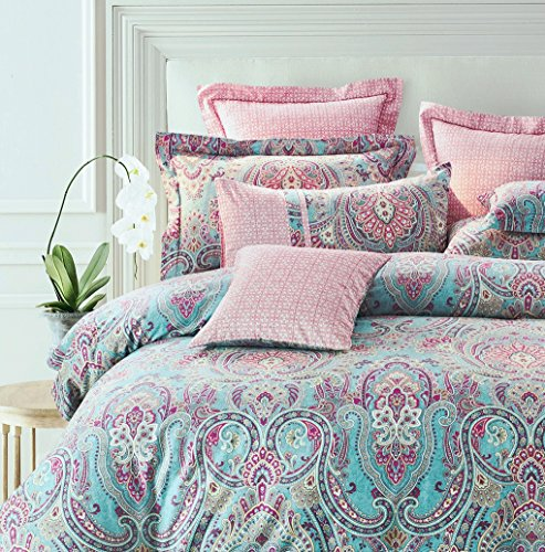 Bright Colorful Boho Chic Bedding Brushed Cotton Paisley