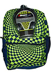 FAB 17in Hypno Checkered Backpack with Bonus Headphones