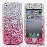 3D Luxury Swarovski Crystal Sparkle Diamond Bling AB Crystals Faded to Pink Design Case Cover for Samsung Galaxy S4 S 4 IV i9500 fits Verizon, AT&T, T-mobile, Sprint and other Carriers (Handcrafted by BlingAngels®)