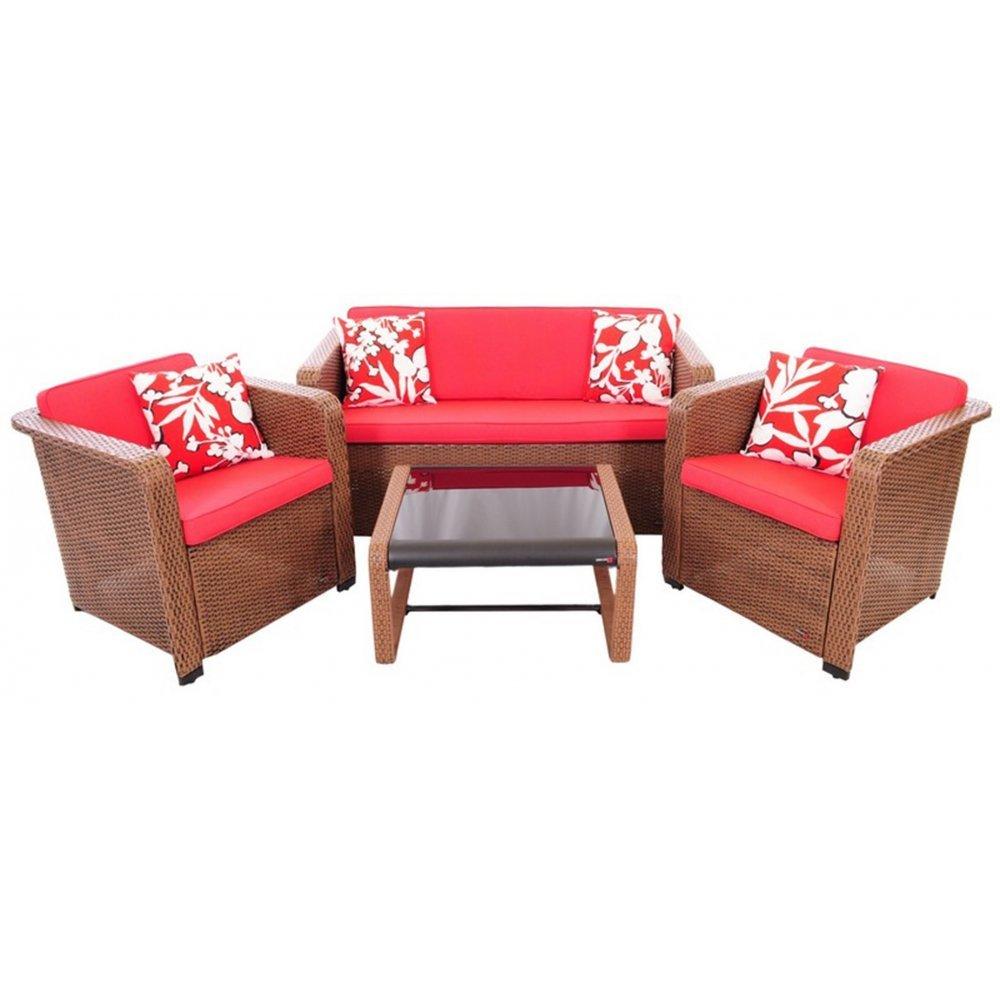 JUSThome Quadro Gartenmöbel Sitzgruppe Gartengarnitur Set 2x Sessel + Sofa + Tisch Technorattan Braun Rot