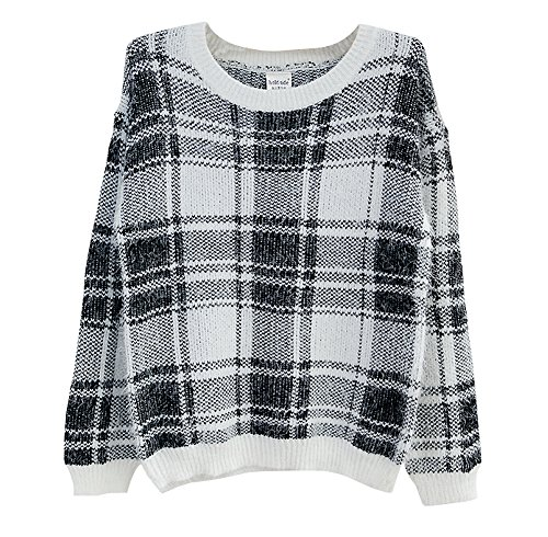 Hole Tide Women's Plaid Crew Neck Furry Sweater Jumper Medium White