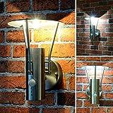 Außenleuchte Standleuchte LED Lampe Wandleuchte Edelstahl 242 SET Aussenlampe (Wandleuchte 242A mit Bewegungsmelder)