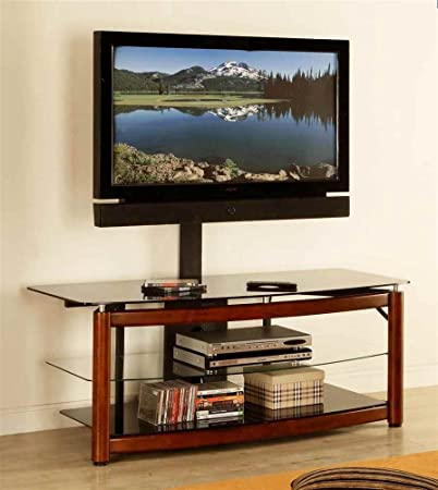 54 in. TV Console in Brown Cherry Finish