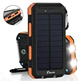 Solar Charger 20000mAh Power Bank, Portable Charger Solar Phone Charger with 2 USB Port 2 LED Light External Battery Pack for Emergency Travelling Camping, iPhone Android Cellphone Charging (Orange) (Color: Orange)