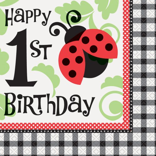 Unique Ladybug Party 1St Birthday Luncheon Napkins (16 Count), Red