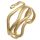 RechicGu Gold Chic Egypt Cleopatra Swirl Snake Arm Cuff Armlet Armband Open Bangle Bracelet with Gift Box (Color: Gold)
