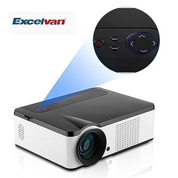 Excelvan® 2000 Lumens Home Cinéma HD Multimédia Projecteur LCD/ LED AV/DTV/HDMI/VGA/USB/YPBPR - Blanc&Noir