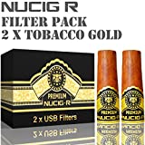 Tobacco GOLD Flavour NUCIG-R Replacement Pack of 2 Filters VG Premium Base for NUCIG Rechargeable Electronic Cigar Electric ecigar e cigar Ecigarette Electronic Cigarette Electric Cigarette eliquid clearomiser
