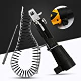 YiXUAN Automatic Screw Spike Chain Nail Gun Adapter Screw Gun for Electric Drill Woodworking Tool Cordless Power Drill Attachment (Color: silver)