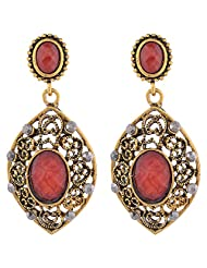 Brass Earing With Markasite Stone And Red Stone Stone
