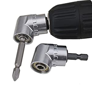 Nizzco 2PCS Right Angle Drill,105 Degree Multifunction Right Angle Driver with 1/4inch Hex Bit Socket Screwdriver Holder Adapter