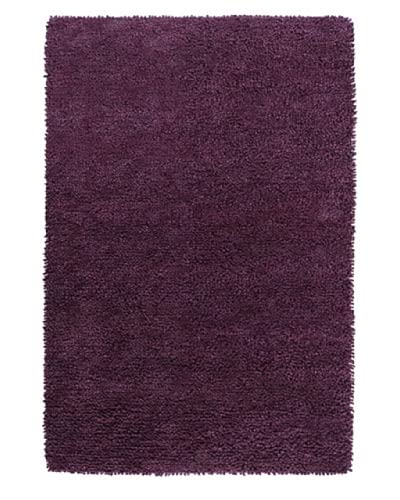 "Surya Aros AROS-15 Shag Hand Woven 100% New Zealand Felted Wool Prune Purple 2'6"" x 8' Runner"