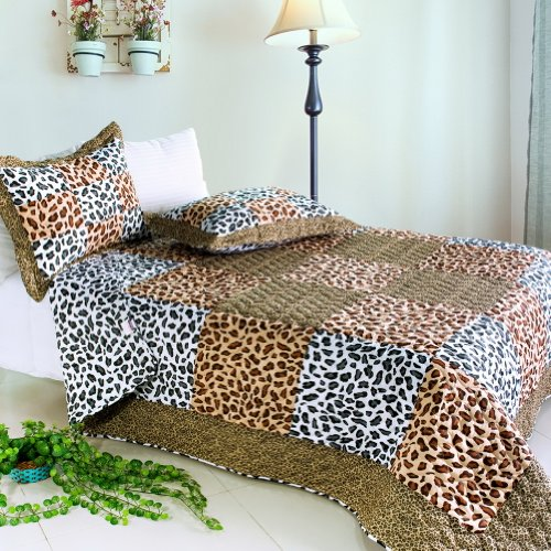 [Leopard Pattern] Cotton 3Pc Vermicelli-Quilted Patchwork Quilt Set (Full/Queen Size)