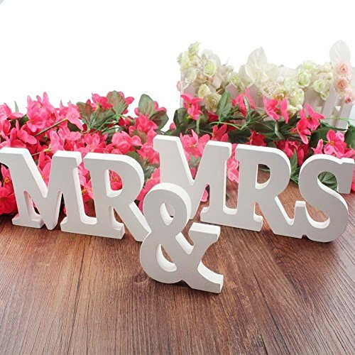 MR & MRS Wooden Letters Wedding Decoration / Present (White)