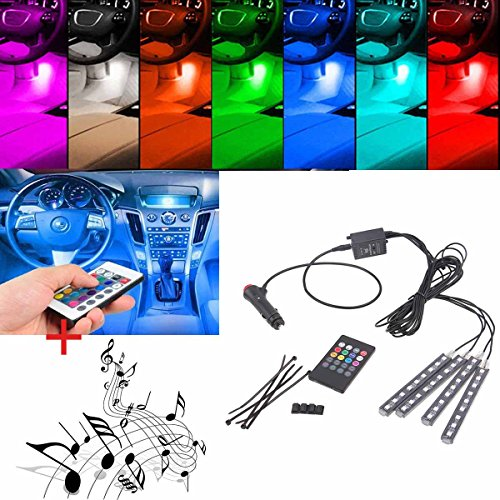 POSSBAY Multi-color 8 Color RGB Car LED Interior Underdash Lighting Kit with Sound Active Function and Wireless Remote Control (Car Color Led Lights compare prices)