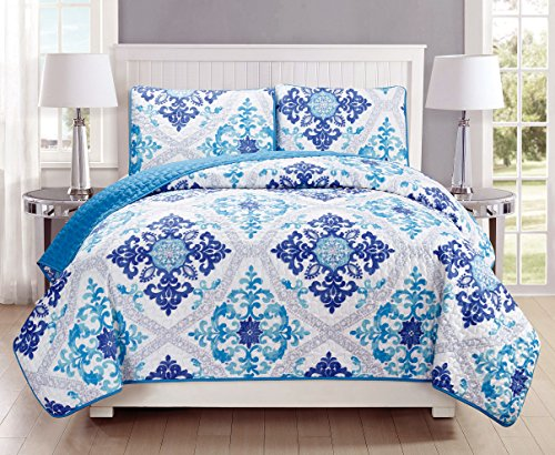 3-Piece Fine printed Quilt Set Reversible Bedspread Coverlet KING SIZE Bed Cover (Turquoise, Blue, White, Grey, Navy) (Blue King Size Quilt compare prices)