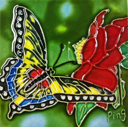 Continental Art Center SD-084 4 by 4-Inch Butterfly with Red Flower Ceramic Art Tile