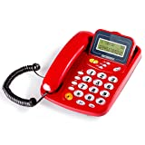 GJ Wall-mounted Telephone Home Seated Cable Office Fixed Telephone Landline GJDSF (Color : Red, Size : L217MMW127MM) (Color: Red, Tamaño: L217MM*W127MM)