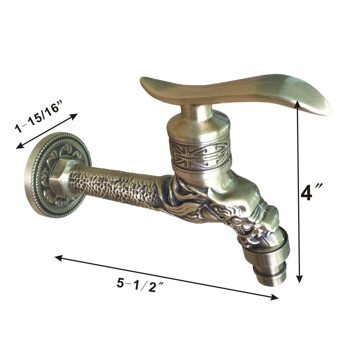 Outdoor Garden Faucet Antique Brass Spigot Spout Tap | Renovators Supply 2