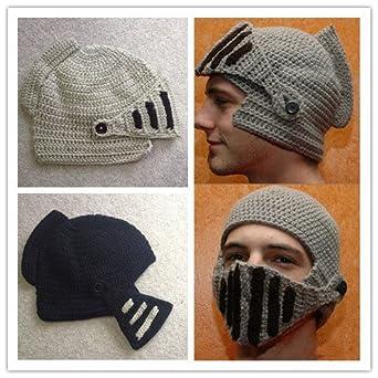 UNISEX Hand Knit Crochet Knight Helmet Hat, Roman Hat Beaine *HAND MADE* (Beige)
