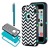 iPhone 5C Case, iPhone 5C Cover, ULAK 3in1 Fashion Chevron Wave Pattern Armored Hybrid PC & TPU [Shock Absorbing] Combo Case for Apple iPhone 5C with Screen Protector and Stylus -Retail Packaging (Chevron + Blue PC)