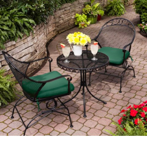 Outdoor Wrought Iron Bistro Set W / Free Green Cushions
