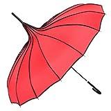 TopTie Peak Shaped Umbrella Wedding Parasol Bridal Umbrella Windproof Waterproof-Red (Color: Red, Tamaño: one size)