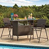 High Quality Outdoor Wicker Bar Table | All Weather Wicker for Patio, Garden, Backyard, Poolside Use