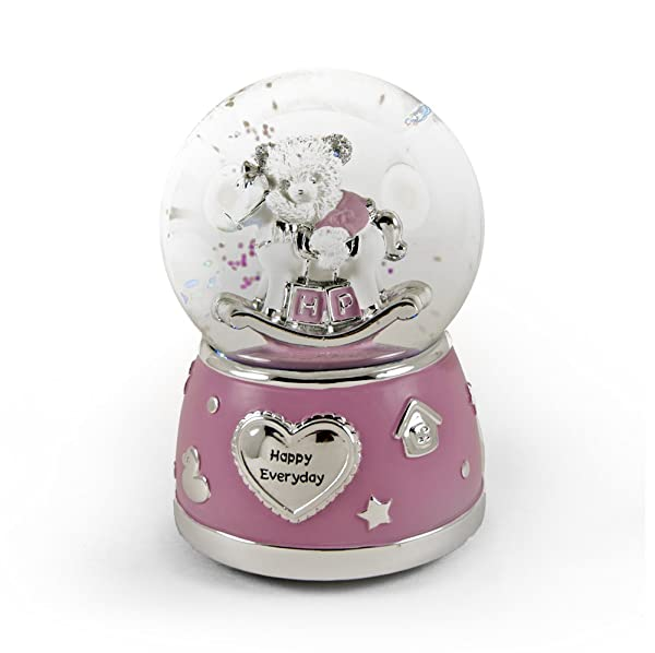 MusicBoxAttic Adorable Pink and Silver Teddy Bear On Rocking Horse Animated Snow Dome - A Time for Us (Romeo & Juliet) (Tamaño: 006. A Time For Us (Romeo £ Juliet))