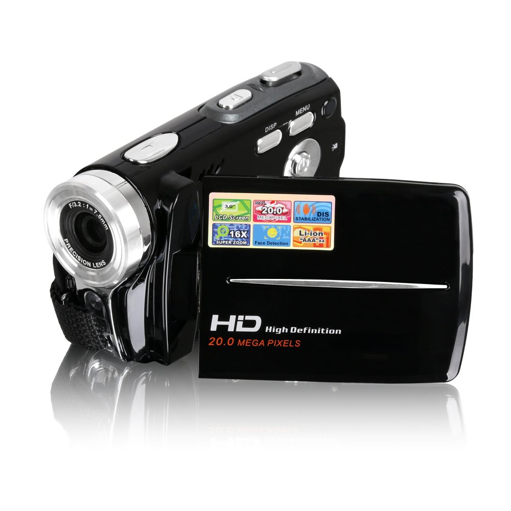 Besteker HD 720p 20.0 Mega Pixels Digital Video Camcorder Camera DV TFT 3.0 LCD 16x Zoom Video Recorder 1280*720p (Black Color)