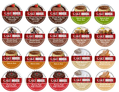 20 Cup Cake Boss® Flavored Only Coffee Sampler! 8 New Delicious Flavors! Chocolate Cannoli, Italian Rum Cake, Raspberry Truffle, Dulce De Leche (Caramel) + So Delicious!