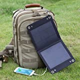 LevinTM Traveller 7W Foldable Solar Panel Portable Solar Charger for iPhone iPod Samsung Galaxy Series Phones and Other Android PhonesWindows phones Bluetooth Speakers and Many Other 5V USB-Charged Devices
