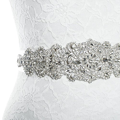 Rhinestone wedding dress applique patch for bridal sash belt