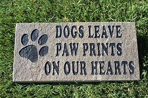 Sandblast Engraved Grey Stone Pet Memorial Headstone Grave Marker Dog Paw 4x8