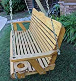 Handmade Amish Heavy Duty 800 Lb 4ft. Porch Swing With Cupholders - Cedar Stain - Made in USA