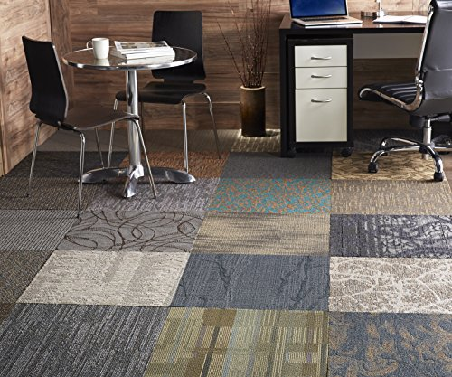 Nance Industries Peel and Stick 200 Square Feet Assorted Commercial Carpet Tile, 50 Tile