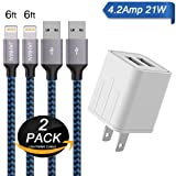 iPhone Charger, JAHMAI 4.2A Fast Charging Portable Home Travel Charger with 6FT 2PACK Durable Nylon Braided Lightning to USB Cable Charging Cord for iPhone X/8/7/6S/6/Plus/5S/SE/5C/5/iPad (Color: Charger & cable, Tamaño: 6 feet)