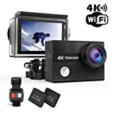 TENKER 4K Action Camera, WiFi 12MP Waterproof Sport Camera 170 Degree Wide View Angle 2.4G Remote Control 2 Rechargeable Underwater Cam Batteries and Kit of Accessories (Color: Black)