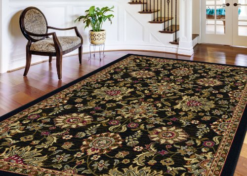 Universal Rugs 4593 Laguna Round Transitional Area Rug, 5-Feet 3-Inch, Charcoal diaidi modern oriental area rug rectangle rug carpet washable soft rugs living room rug carpets for living room rugs and carpets for home living room kitchen rugs