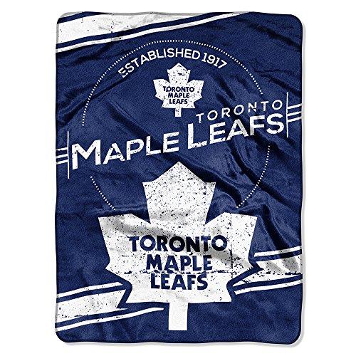 Nhl Toronto Maple Leafs Stamp Plush Raschel Blanket, Blue, 60 X 80-Inch front-87488