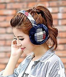 HSE Color plaid Plush Earmuffs New Plush ear warmer Autumn and winter fashion ear warmers