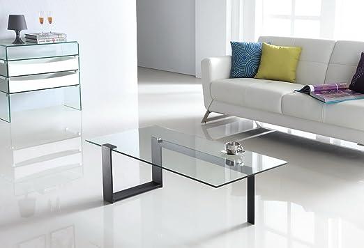 Design Couchtisch Cobra aus Glas klar | 120 x 60 x 35cm | Wohnzimmer Glastisch mit Metallhalterung Glasplatte | hochwertig verarbeitet