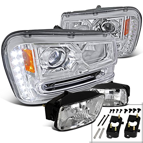 For 2004-2005 Honda Civic 2//4Dr Black Projector Headlights+LED DRL Strip Lamps