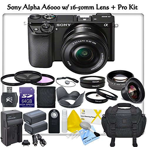 Sony Alpha A6000 Ilce6000L/B Mirrorless Digital Camera With 16-50Mm Lens & Cs Pro Kit: Includes 2X Sony Fw50 Replacement Batteries, Rapid Travel Charger, 64Gb Sdxc Memory Card, Card Reader, Deluxe Camera Case, High Definition Wide Angle Lens, 2X Telephoto