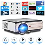 Wireless Bluetooth Projector HDMI 1080P Multimedia Home Theater Smart Android 6.0 LCD LED LCD Video Projector 4200 Lumen Outdoor WiFi Proyector for TV Smartphone Stick PC Laptop USB Driver PS4 Xbox (Color: bluetooth, wifi, projector 4200 lumen)